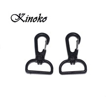 100pcs Pack Black Plastic Swivel metal Snap Hook For Weave Paracord Lanyard Buckles Backpack Straps Webbing 25mm #MB0074
