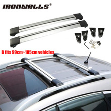 Ironwalls 2x Car Roof Rack Cross Bar 99cm~105cm Top Luggage Cargo Carrier w/ Anti-theft Lock System 150LBS For Nissan Honda Ford(China)