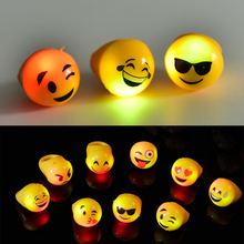 12pcs/lot New Light Up Toys Christmas Led Flashing Rings Finger Lights Emoji Face Party Bar Toy Holiday Fesative Supplies(China)