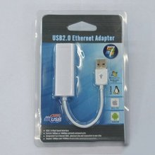50pcs/lot DHL Free shipping USB 2.0 Ethernet 10/100 RJ45 Network Lan Adapter Card Support WIN7 plug and play(China)