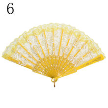 Spanish Lace Fabric Silk Folding Hand Held Dance Fans Flower Party Wedding Prom(China)