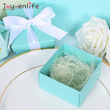 JOY-ENLIFE 10pcs Candy Box With Silk Ribbon Cute Tiffany Blue Theme Wedding Decor Boxes Party Supplies Christmas Party Decor