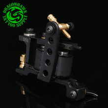 Handmade Professional Tattoo Machine 10 Wrap Coils Tattoo Liner & Shader Black Gun