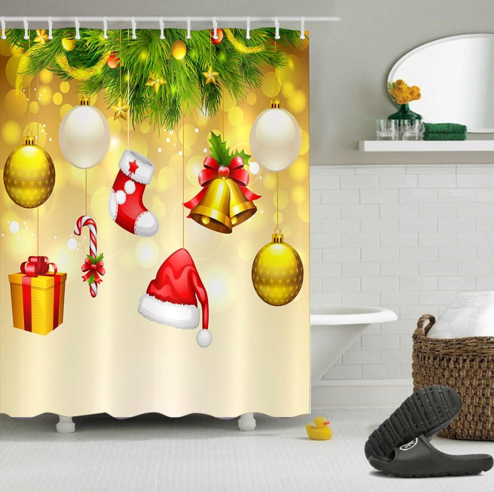 LB Gold Shower Curtains Merry Christmas Ball Hat Tree Star Luxury Washable Bathroom Curtain Fabric Polyester for Bathtub Decor