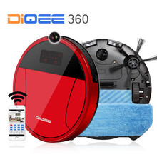 DIQEE 360 2017 Smart Robot Vacuum Cleaner for Home wireless Sweeping Dust Gyro navigation Planned Clean mop WIFI Phone RC camera(China)