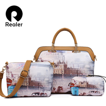 REALER brand 3 pcs printed handbag female composite bag large capacity artificial leather tote bag+small shoulder bag+coin purse(China)