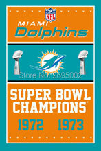 Miami Dolphins Super Bowl Champions Man Cave Sports Banner Basketball Flag 3' x 5' Custom Hockey Baseball Football Flag