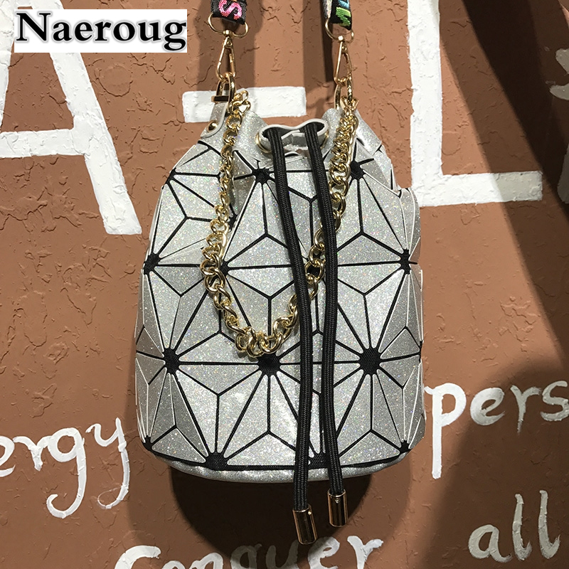 Women BaoBao Bag Geometry Saser Plain Folding Pulling Rope Bucket Bags Luminous Ladies Casual Tote Bao Bao Crossbody Bags Bolsas<br>
