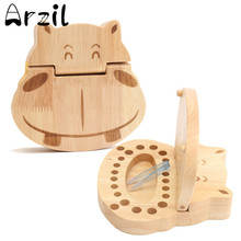 Wooden Teeth Box Hippo Pattern Milk Tooth for Kids Storage Boxes Safe Permanent Preservation Boxes Home Decoration Crafts