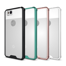 MAKAVO For Google Pixel 2 Case Hybrid Soft Silicone Frame Hard Acrylic Back Cover Transparent Phone Cases For Google Pixel 2 XL