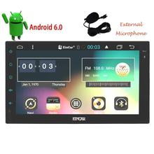 Android 6.0 Car Stereo 2 Din GPS Navigation Head Unit Radio Receiver Support WiFi OBD2 Mirrorlink+External Micro steering wheel
