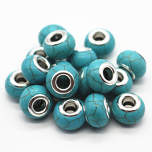30pcs/lot Blue/White Color Choose 14MM Big Hole Loose Beads Fit European Jewelry Bracelet Charms DIY(China)