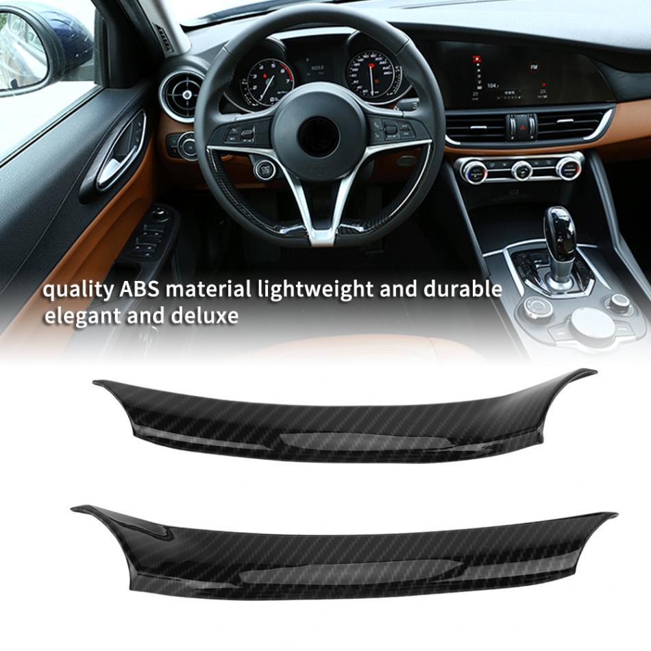 2x Matte Chrome Steering Wheel ABS Frame Cover Trim For Alfa Romeo Giulia 2017