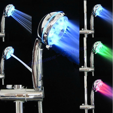 Adjustable 3 Mode LED Light Shower Head Sprinkler Temperature Sensor Bathroom -Y122(China)