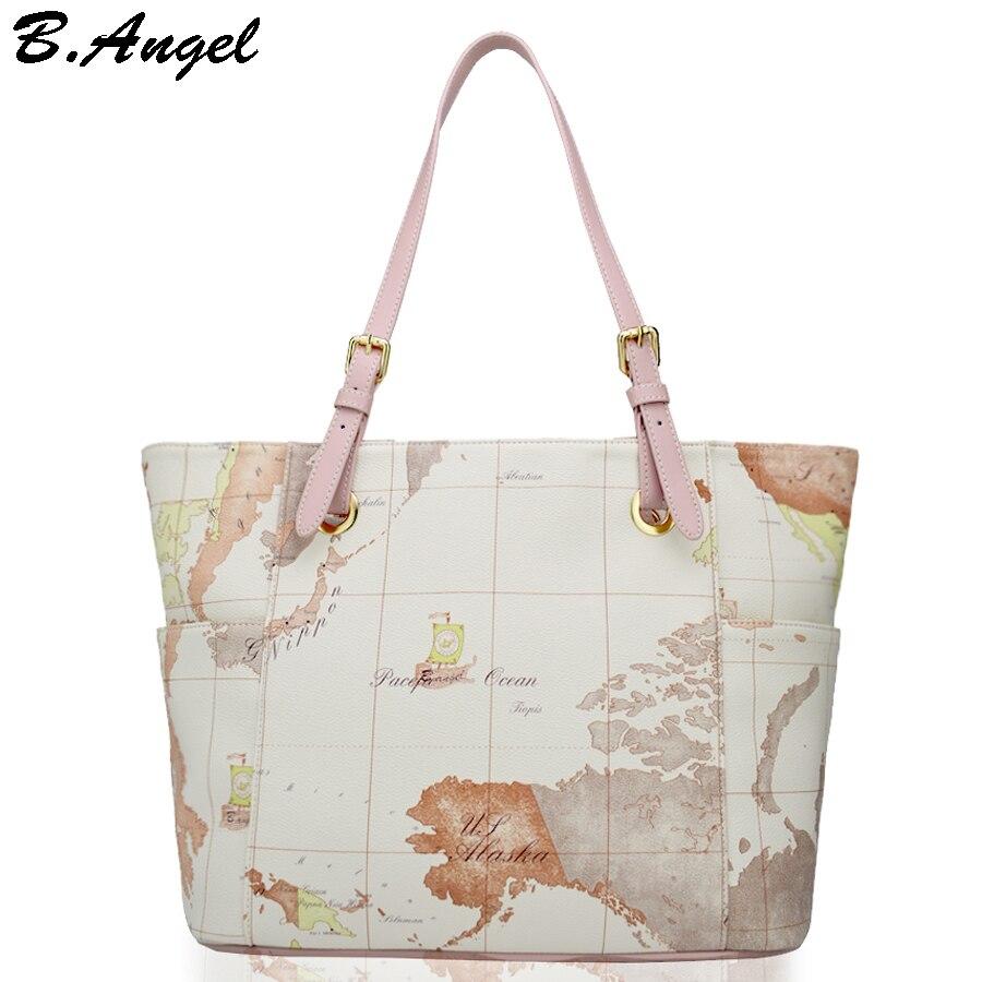 High quality world map women bag fashion big tote bag special handbag brand designer shoulder bag high capacity HC-W-29135<br>