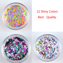 3 Box Mixed Colorful Nail Glitter Sequin Round Shiny Color Nail Sparkle Flake 3D Nail Art Decoration Bling(China)