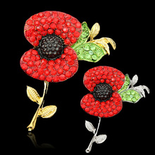 (12pcs/lot )Free Shipping Cheap Wholesale Lot Very Beautiful Sparkl Red Crystal Rhinestone Poppy Brooch Pins UK Remembrance Day