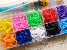 (High Quality!!) 1 Set Mix Colors Rubber Loom Bands Box Set DIY Bracelets(500 bands + 3 charms + 24 s-clips + 1 hook)(China)