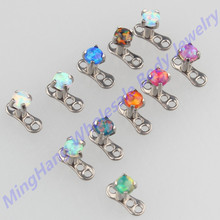 Mixed 11 Color 3mm Opal Tops G23 Titanium Dermal Anchor Skin Diver Body Piercing Jewelry(China)