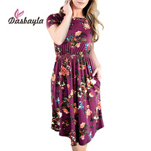 Buy Dasbayla Women Loose Swing Dress 2018 Spring Short Sleeve Pocket Floral Midi Dresses Empire ladies Sexy Office vestidos Female for $16.73 in AliExpress store