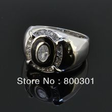 HOT Cheap 2017 Vintage Jewelry Square Black Stone Ring For Women/Men Antique Silver Plated Crystal Christmas Gift(China)