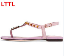 New Hot 2017 Pineapple Embellished Woman Summer Flat Sandals Open Toe Buckle Strap Shoes With Rivets Woman Summer Pink Sandals