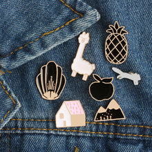 Cartoon Animal Sheep Pineapple Mountain Shell House Fox Enamel Pin Brooch Creative Personality Brooches Jacket Collar Badge Pins(China)