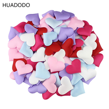 HUADODO 3.5cm*3cm Satin Heart Shaped Fabric Petal Wedding Party Decor Scatter Confetti Table 100Pcs/lot(China)
