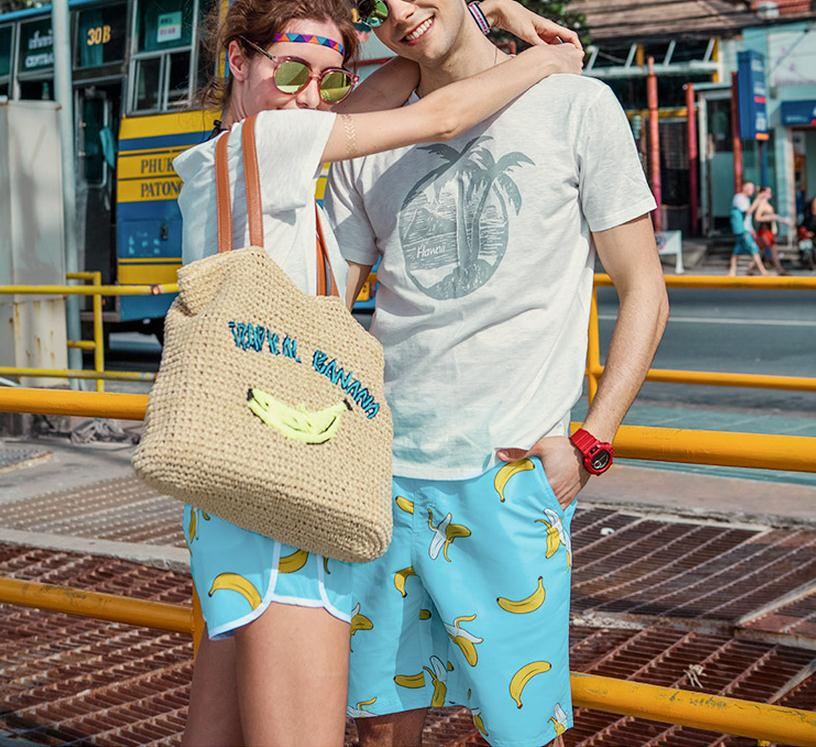 Swimwear Men Beach Shorts Surf Swim Banana Printed Shorts Quick Dry Board Shorts Man Swimsuits Swim Unisex Loose Leisure Shorts5
