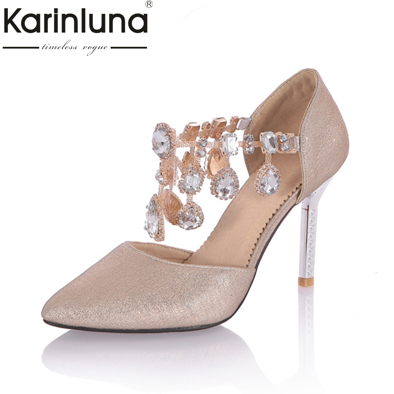 Karinluna Fashion Large Size 33-43 Womens 2018 Women Shoes Woman Thin High Heels Buckle Pointed Toe Woman Pumps<br>
