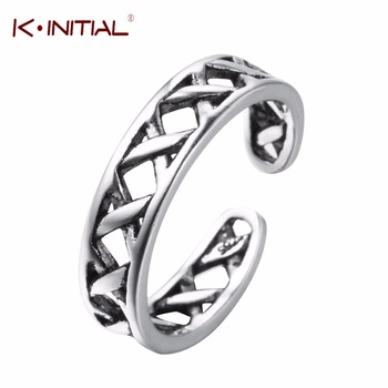 Kinitial 2017 Fashion 925 Silver Rings Bijoux for Women Cross X Shape Exquisite Finger Round Ring Silver Party Adjust Jewelry