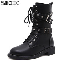 YMECHIC Lace Up Rivet Buckle Strap Short Ankle Boot Womens Black Leather Female Autumn Winter Shoes Military Combat Riding Boots(China)