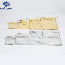 Multi Sizes 10pcs Silver/Gold Color Metallic Foil Organza Pouches Christmas Wedding Party Favour Gifts Candy Bags