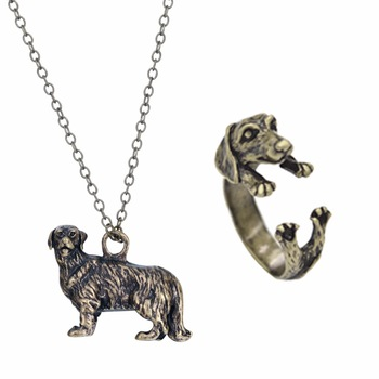 Kinitial Dachshund Necklace Dachshund Ring Jewelry Set Dog Necklace Dachshund Pendant Pet Necklace Sausage Dog Lovers Gift