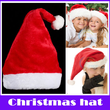 Merry Christmas 2015 1 PC Children Adult Short Plush Christmas Hat Soft Santa Cap Thick Xmas Party Fancy Dress Costume Hats Gift