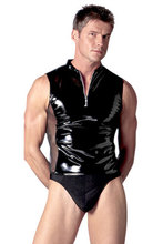 Black Sexy Teddy Mens Wet Look Wrestling Singlet Pvc Latex Clothing Catsuit Bodysuit Spandex Leather Suit Fetish Costume