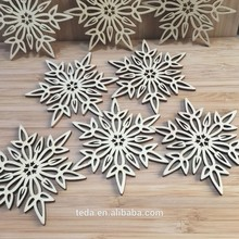 Wooden snowflakes Hanging for happy winter Blank Decorations Craft Gift Tag(China)