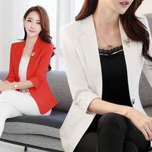 2017 Summer Women Middle Sleeve Slim Blazer Work Office Lady Business Outwear Solid Casual Tops Coat Jacket White/Purple/Red