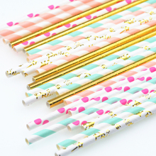 Mixed Colors Mint Pink Gold  Paper Straws Kids Birthday Wedding Decorative Party Decoration Event Supplies Drinking Paper Straws