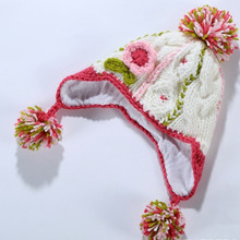Retail baby & kids girl fashion colorful earflap cable-knit casual hats children fall winter new cotton flower beanie hat