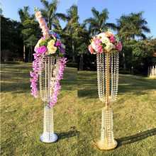 "100cm(39"") Tall Acrylic Crystal Wedding Centerpiece Road Lead Stand Dinner Party Table Decoration Candlestick 10 Sets(China)"