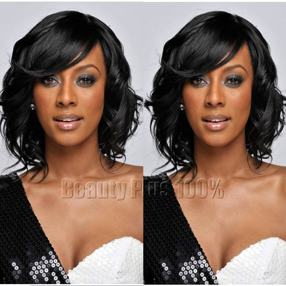 Synthetic hair Black short wave wigs fashion wavy bobo hair wigs with side bangs full wigs for black women cosplay wig Perruques<br><br>Aliexpress