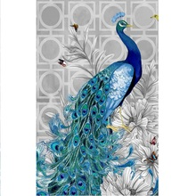 30*40cm 5d Diy Diamond Embroidery Peacock Home Decoration Round Diamond Mosaic Pictures Needlework Painting Cross Stitch Kits