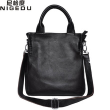 NIGEDU brand design Genuine Leather bag women handbag Large Luxury Hobo Messenger Shoulder bag big Tote Bags Ladies Handbag(China)