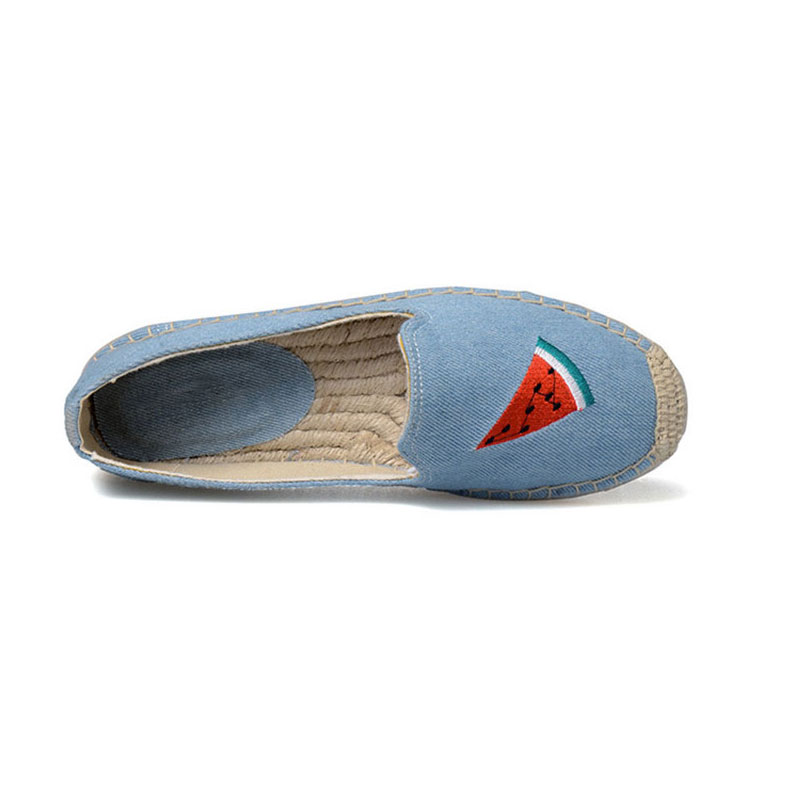 2017 Summer Canvas Espadrilles Thick Heel Denim Round Toe Flat Shoes Loafers Casual Womens Shoes Light Blue Loafers Platform<br><br>Aliexpress