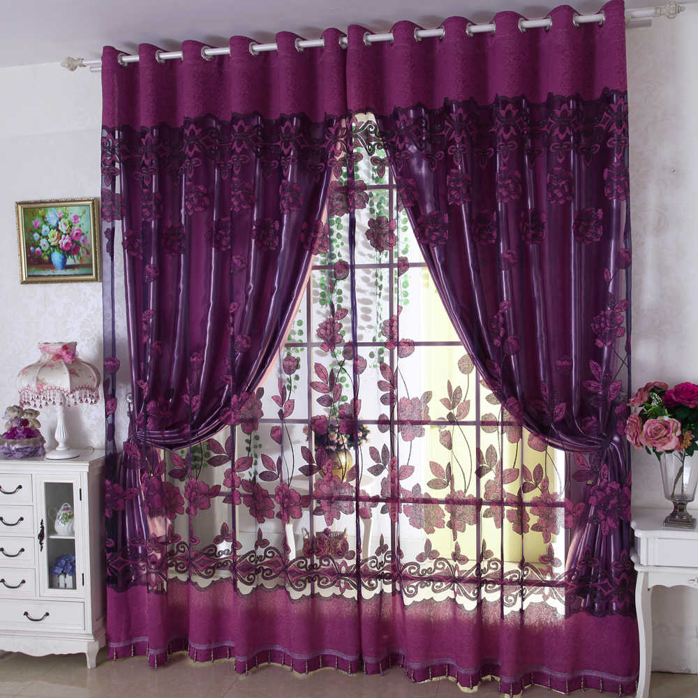Luxury modern flowers curtain tulle window set of blackout voile curtain for living room bedroom (1 PC Curtain and 1 PC Tulle)