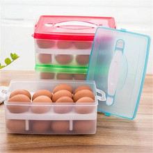 Egg Container Storage Organizer 1 PC Clear Plastic Double Layer Refrigerator Food 24 Eggs Airtight Storage Box Wholesale 20M23