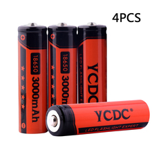 4x YCDC Bateria 18650 Battery 3.7V 3000mAh Rechargeable Batteries Li-ion Lithium Torch Flashlight+battery box - 3C Discount Store store