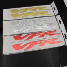 Hot Sales 2Pcs VFR 3D Raised Tank Decorated Sticker Decals Chrome Silver For Honda VFR Free Shipping