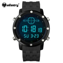 INFANTRY Men LED Digital Wristwatches Outdoor Military Watches Luxury Brand Male Clock Sport Rubber Black Relogio Masculino 2017(Hong Kong)